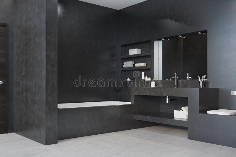 Det svarta badrummet, badar, sjunker och avspeglar hörnet royaltyfri illustrationer