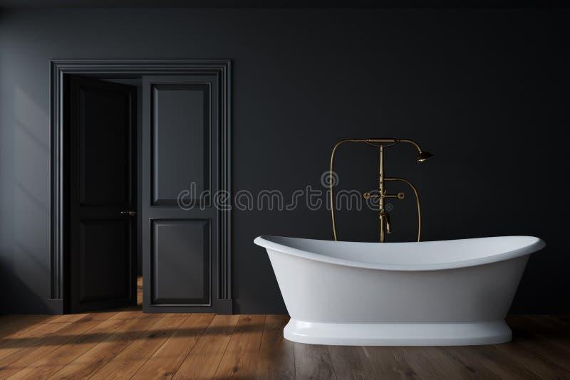 Det svarta badrummet, vit badar vektor illustrationer