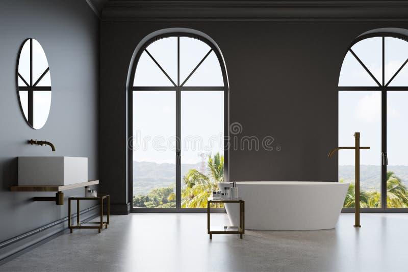 Det svarta badrummet, vit marmor badar och sjunker royaltyfri illustrationer
