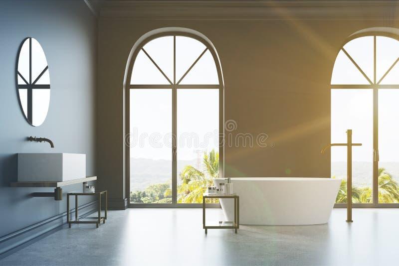 Det svarta badrummet, vit marmor badar och sjunker tonat vektor illustrationer