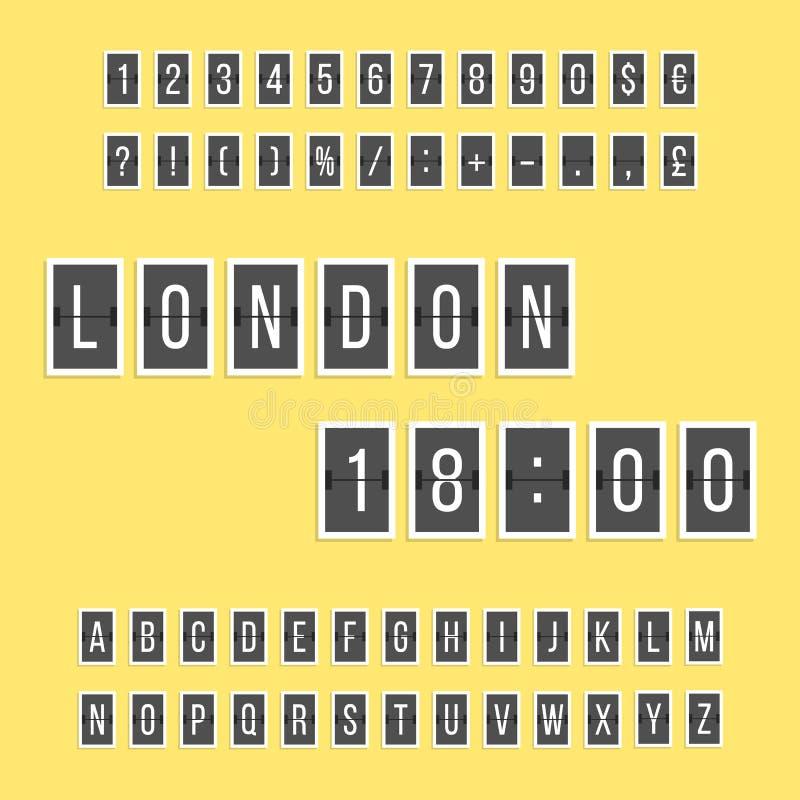 Det svarta funktionskortet märker och numrerar alfabet stock illustrationer