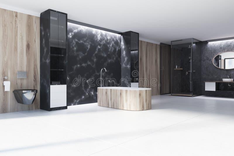 Det svarta marmorbadrumhörnet som är trä badar royaltyfri illustrationer