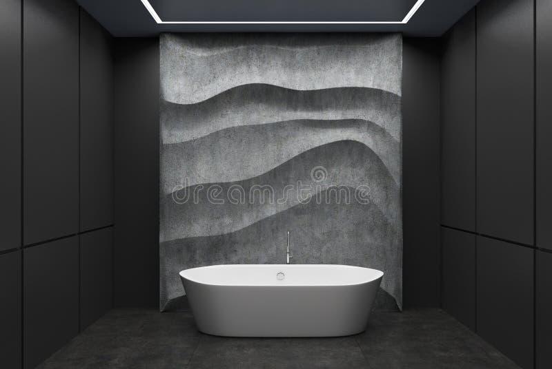Det svarta och konkreta badrummet, vit badar royaltyfri illustrationer