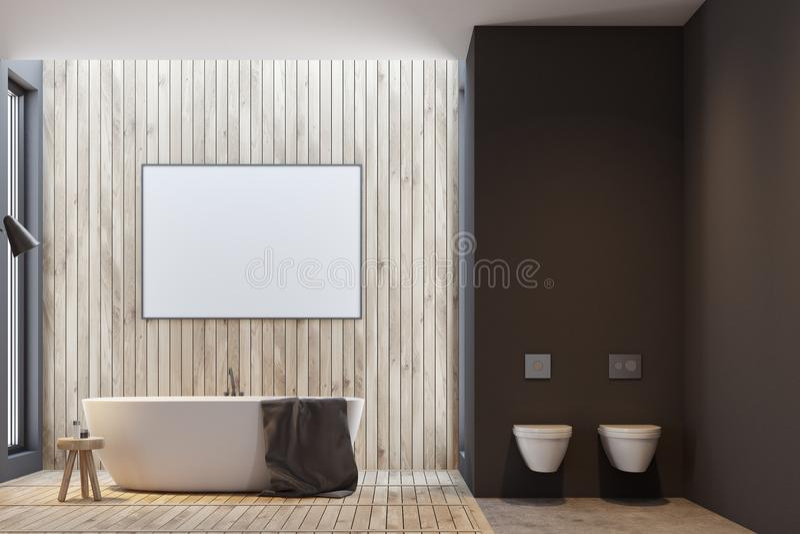 Det svarta och träbadrummet, affisch och badar royaltyfri illustrationer
