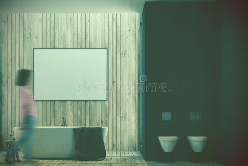 Det svarta och träbadrummet, affisch och badar tonat stock illustrationer