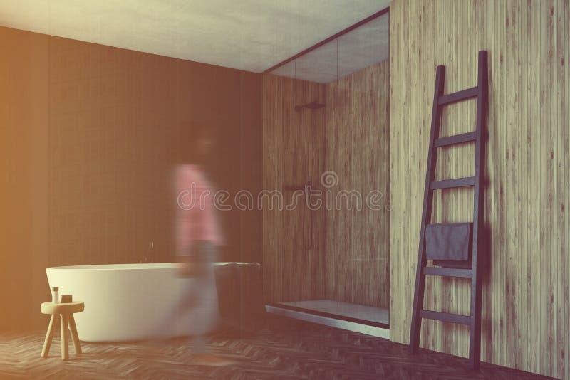 Det svarta och träbadrummet, vit badar hörnet, flicka stock illustrationer