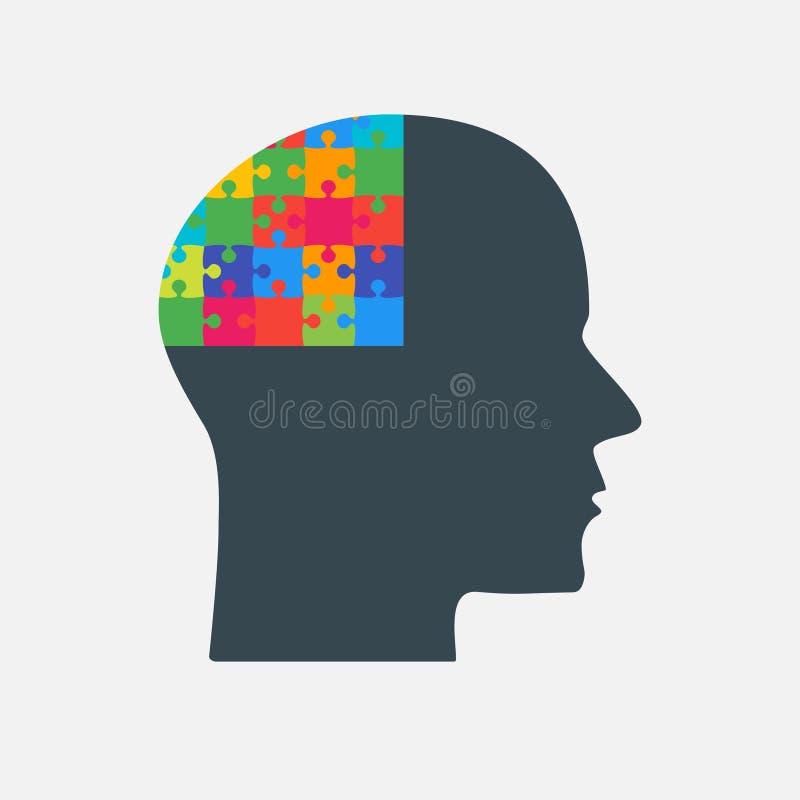 Det svarta pusselstyckhuvudet - vektorhjärna royaltyfri illustrationer