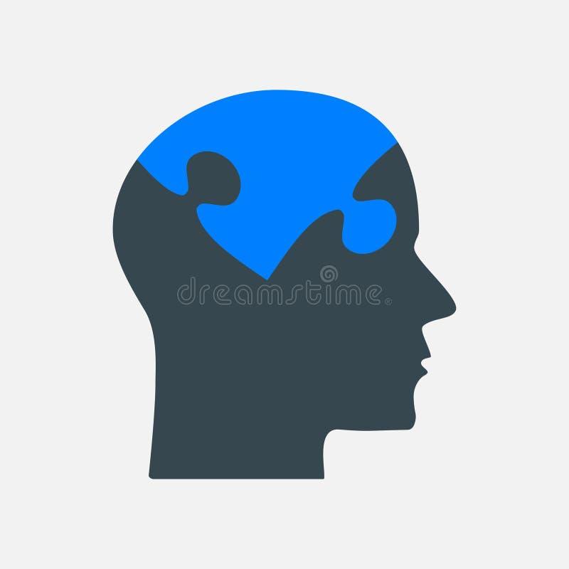 Det svarta pusselstyckhuvudet - vektorhjärna vektor illustrationer