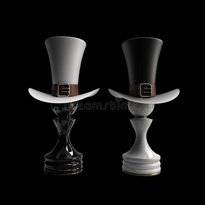 det svarta schacket pantsätter vs wihte royaltyfria bilder