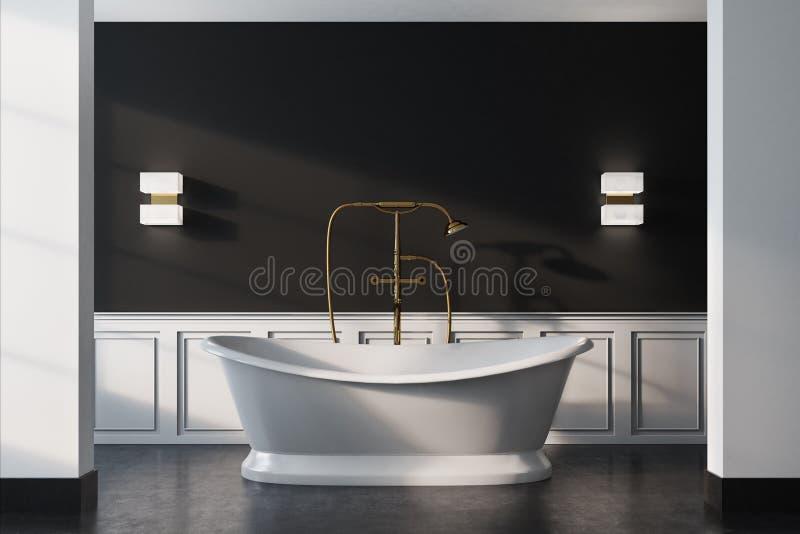 Det svarta tappningbadrummet, vit badar, stänger sig upp royaltyfri illustrationer