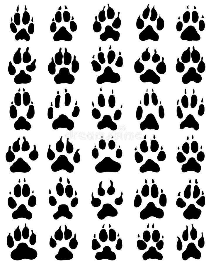 Det svarta trycket av tafsar av hundkapplöpning vektor illustrationer