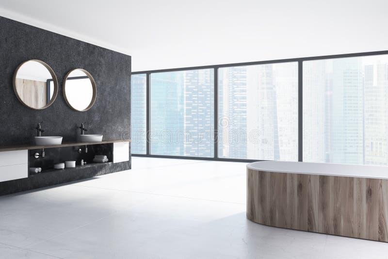 Det svartvita badrummet som är trä badar, sjunker stock illustrationer