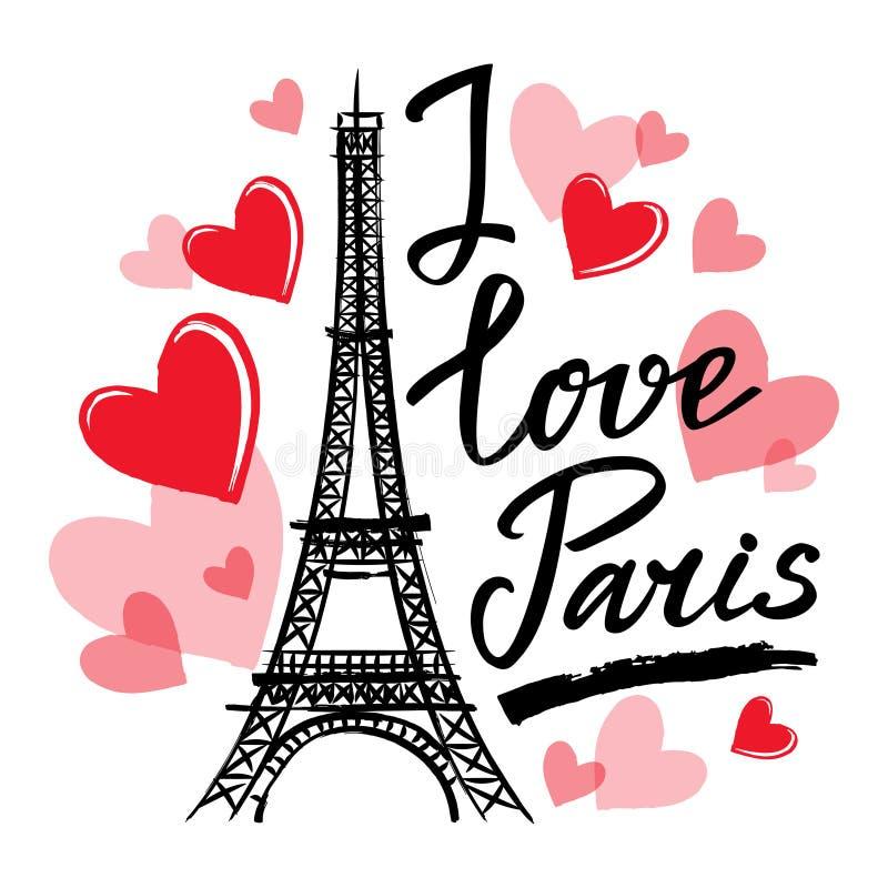 Det symbolFrankrike-Eiffel tornet, hjärtor och uttrycket älskar jag Paris stock illustrationer