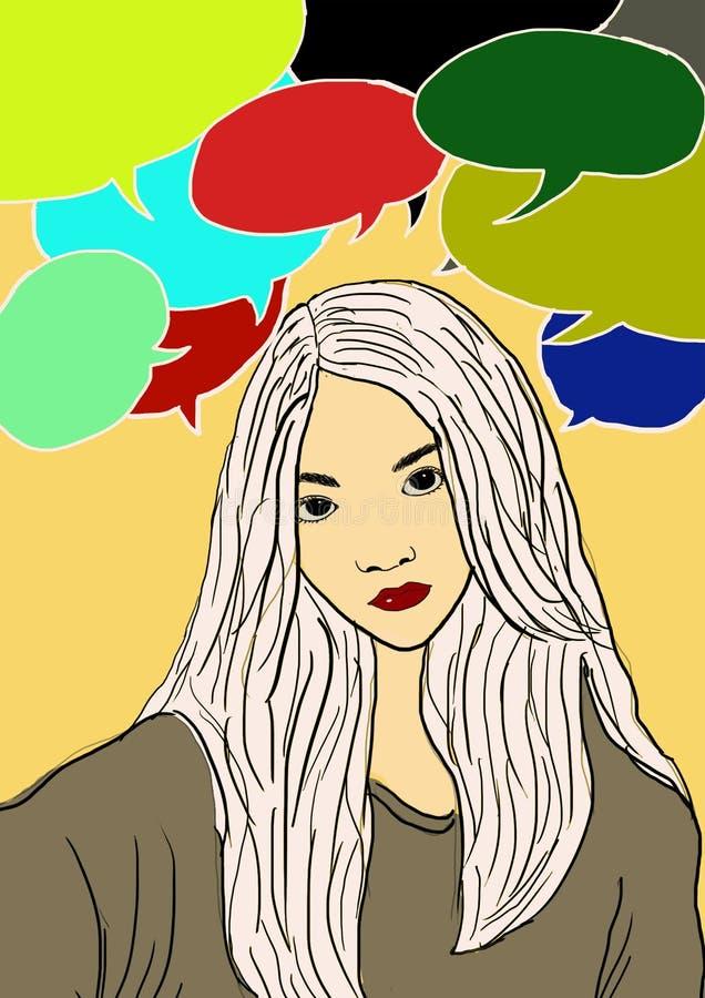 Det tänkande flickasamtaluttryckt färgar digital målningidékläckning för ilustration arkivfoto