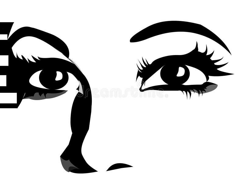 det täta uttryckt eyes upp royaltyfri illustrationer