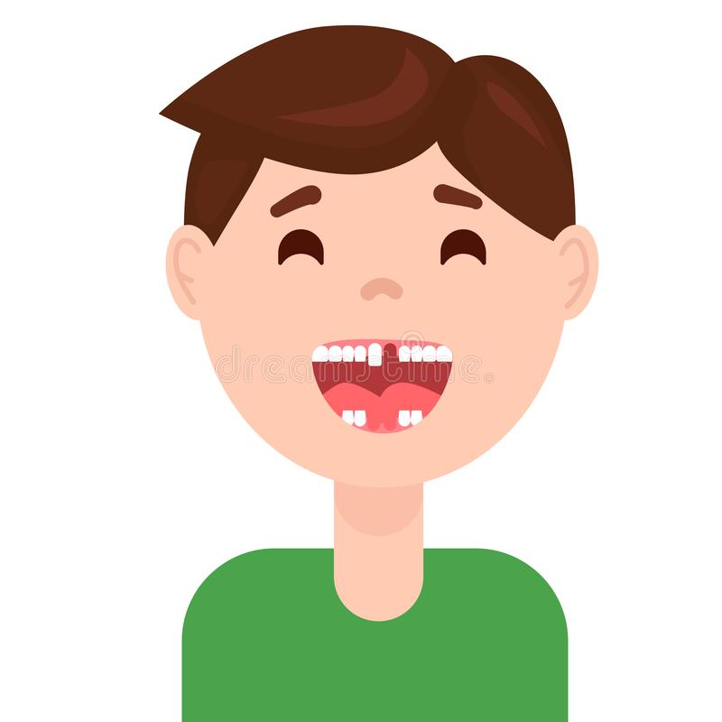Det tandlösa barnet som ler och visar, mjölkar tanden och permanenta tänder i utbrott royaltyfri illustrationer
