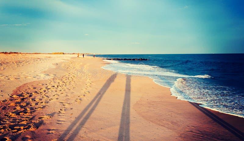 Det tappning bearbetade fotoet av den långa aftonen skuggar på stranden på royaltyfria foton