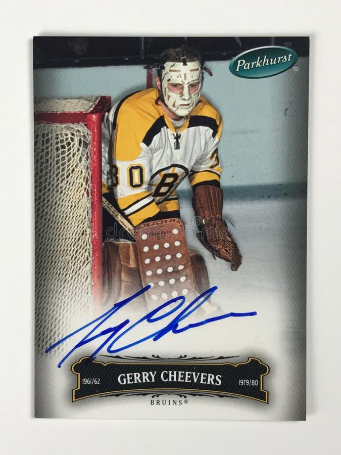 Det tappning undertecknade Parkhurst hockeykortet undertecknade vid Gerry Cheevers fotografering för bildbyråer