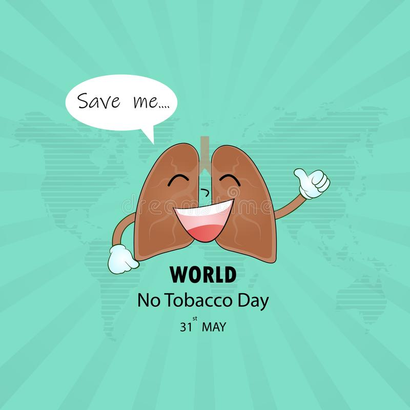 Det tecknad filmteckenet och stoppet för lunga som planlägger det gulliga röker vektorlogo royaltyfri illustrationer