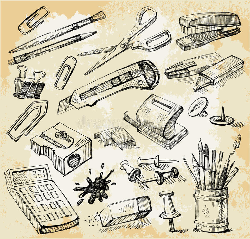 det tecknade handkontoret några stoppar stock illustrationer