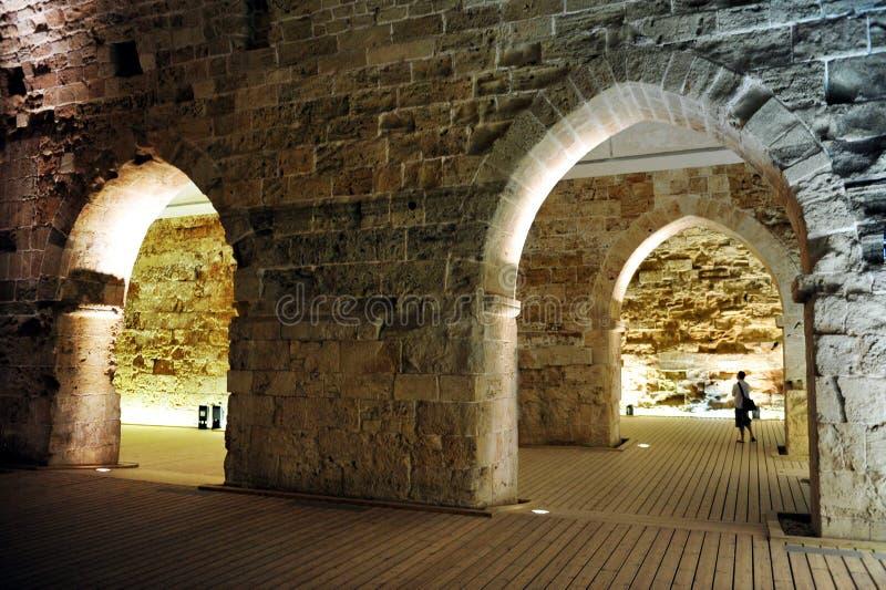 Det templar slottet för riddare i Akko arkivbild