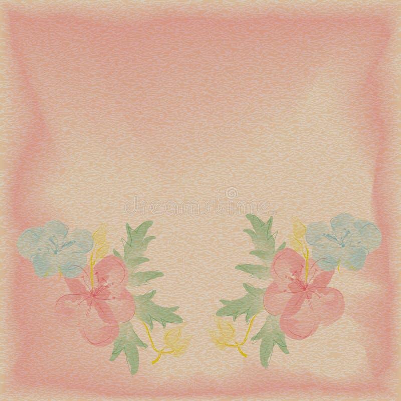 Det texturerade lyckönsknings- kortet för bakgrund med den digitala vattenfärgen blommar vektor illustrationer