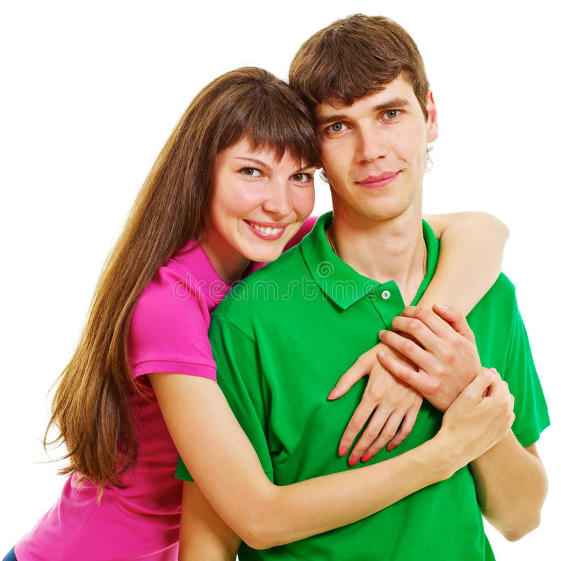 det tillfälliga paret kramar barn arkivfoto