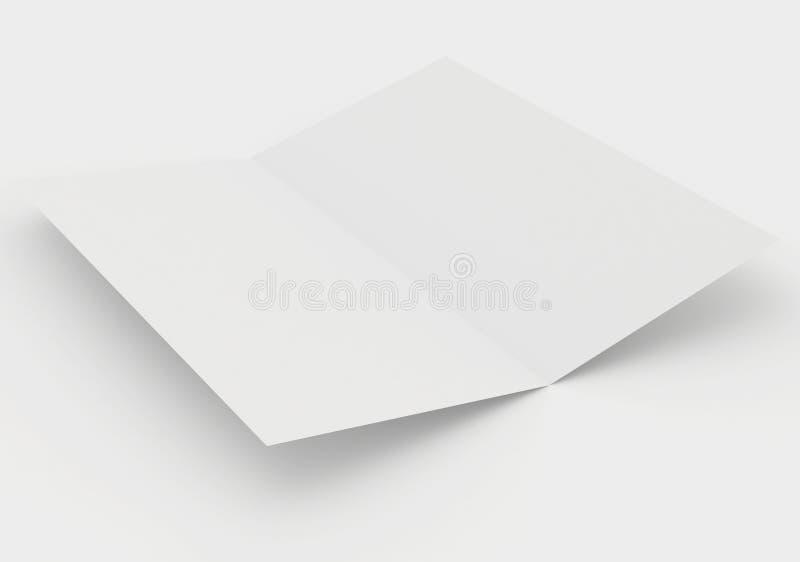 Det tomma arket av papper är vikt två gånger mjuk skugga stock illustrationer