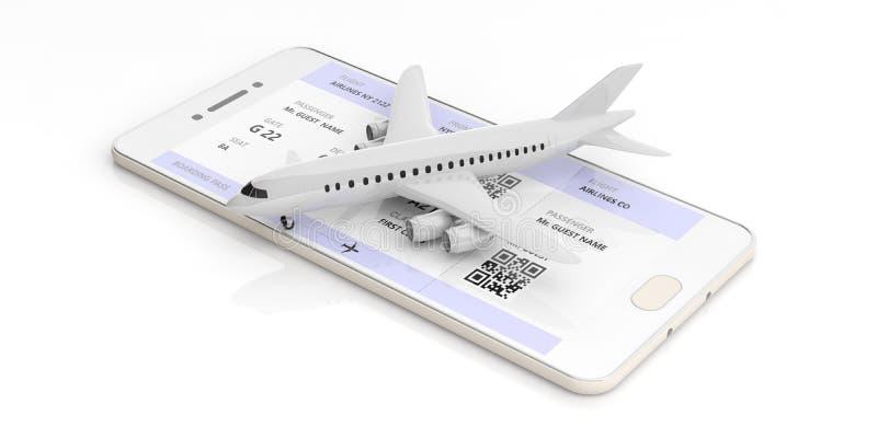 Det tomma flygplanet och logi passerar på en smartphoneskärm som isoleras på vit bakgrund illustration 3d stock illustrationer