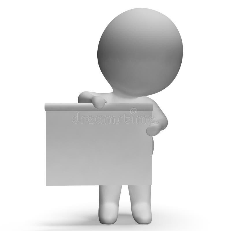 Det tomma vita brädet med Copyspace inkluderar teckenet 3d vektor illustrationer