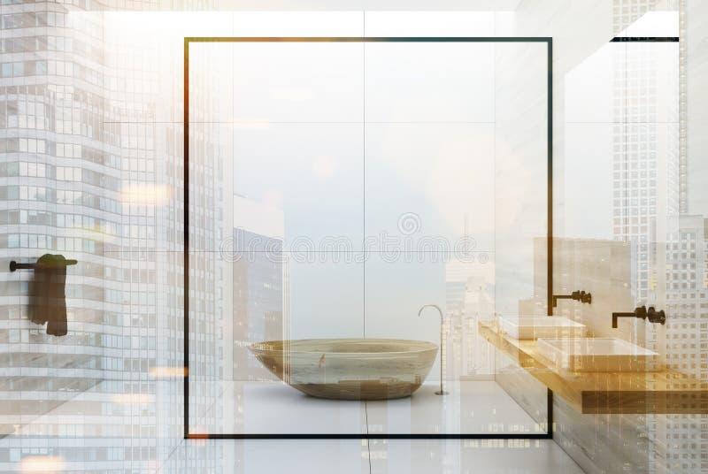 Det trävita badrummet badar och vaskar dubbelt vektor illustrationer
