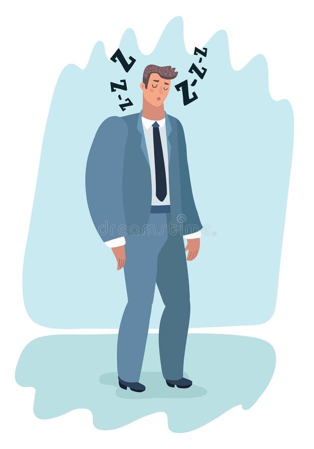 Det trötta teckenet för mankontorsarbetaren har ingen energi royaltyfri illustrationer