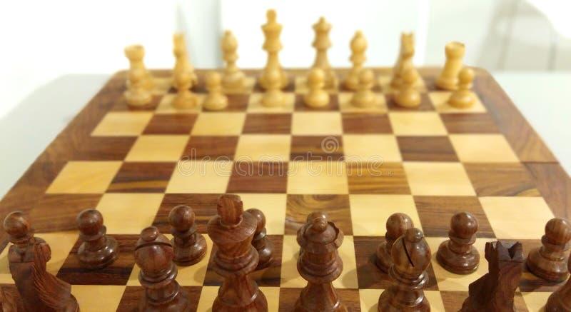 Det traditionella schackstycket på schackbrädet som är klart att spela fotografering för bildbyråer