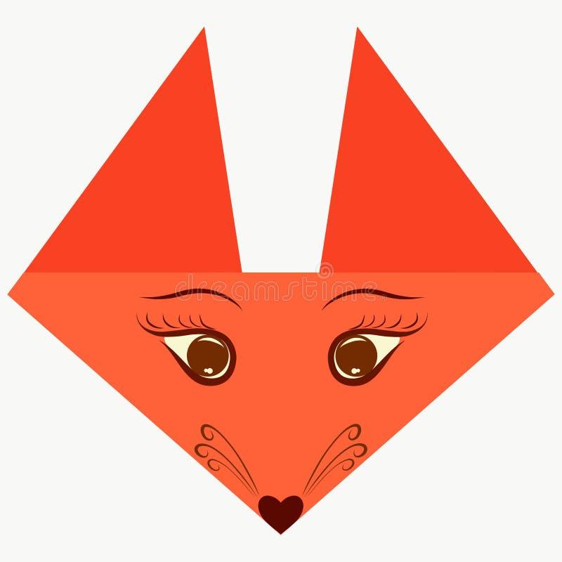 Det triangulära huvudet av en orange räv med origami för en framsida royaltyfri illustrationer