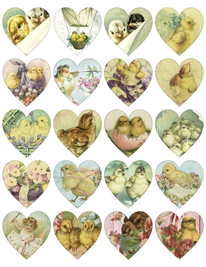 Det tryckbara etikettsarket - hjärta formade etiketter för vårpåskgåvan - brytningen märker - tidskriftstillbehören - tryckbart stock illustrationer