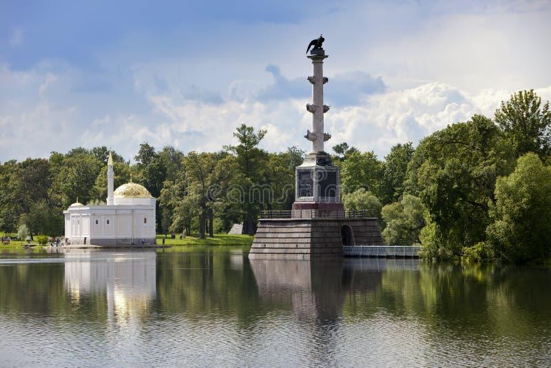 Det turkiska badet för för Chesme kolonn och paviljong 24 för petersburg för park för nobility för km för catherine besök för tsa royaltyfria bilder