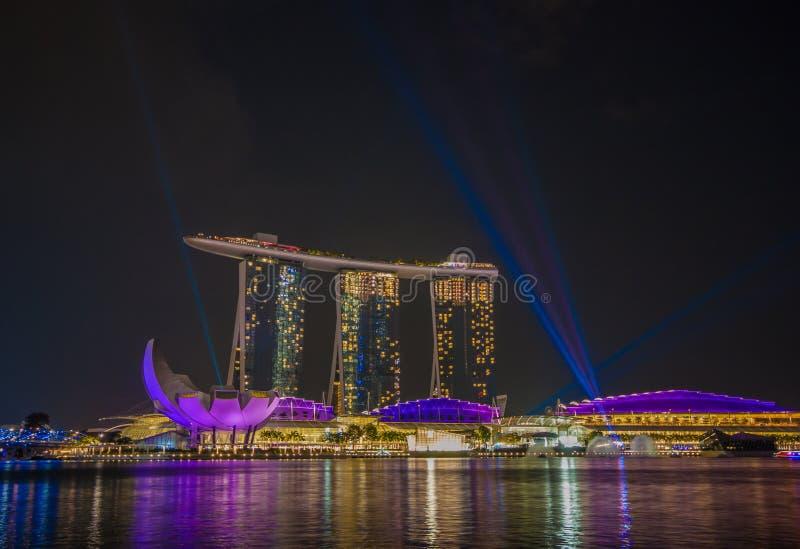 Det underbara Marina Bay Sands hotellet, Singapore arkivfoto