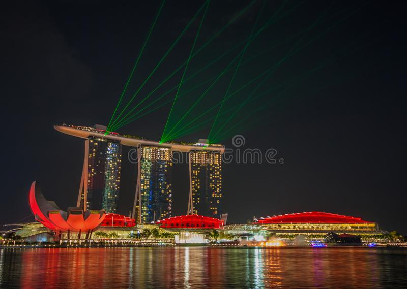 Det underbara Marina Bay Sands hotellet, Singapore arkivbild