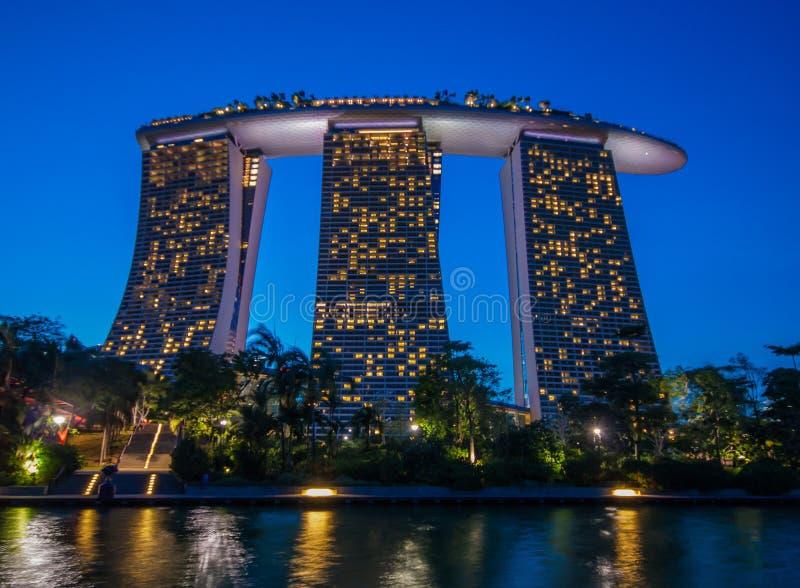 Det underbara Marina Bay Sands hotellet, Singapore royaltyfri bild