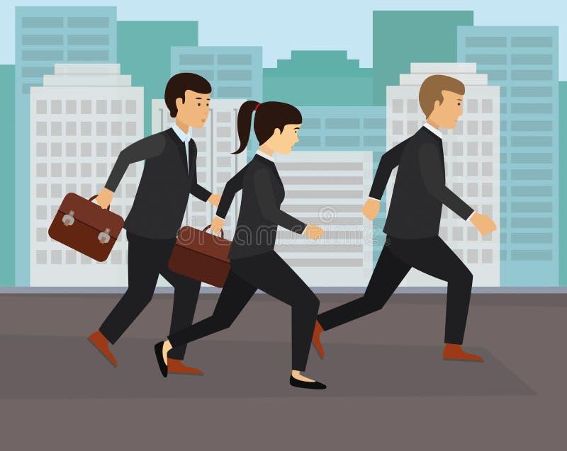 Det unga affärsfolket som kör i svart, passar för arbete royaltyfri illustrationer
