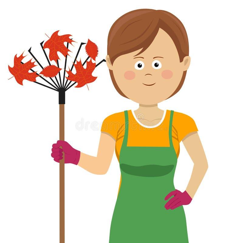 Det unga arbeta i trädgården kvinnaanseendet med krattar och höstlönnlöv royaltyfri illustrationer