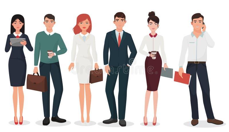 Det unga kontoret specificerade affärsfolk med resväska- och grejsamlingen royaltyfri illustrationer