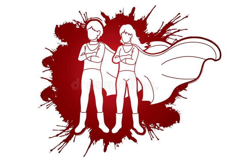 Det unga pojke- och flickaanseendet, toppna hjältar åtgärdar tecknad filmdiagrammet royaltyfri illustrationer