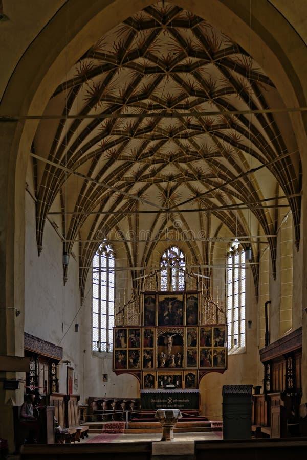 Det välvde taket i kapell av Biertan stärkte kyrkan, Rumänien royaltyfri bild