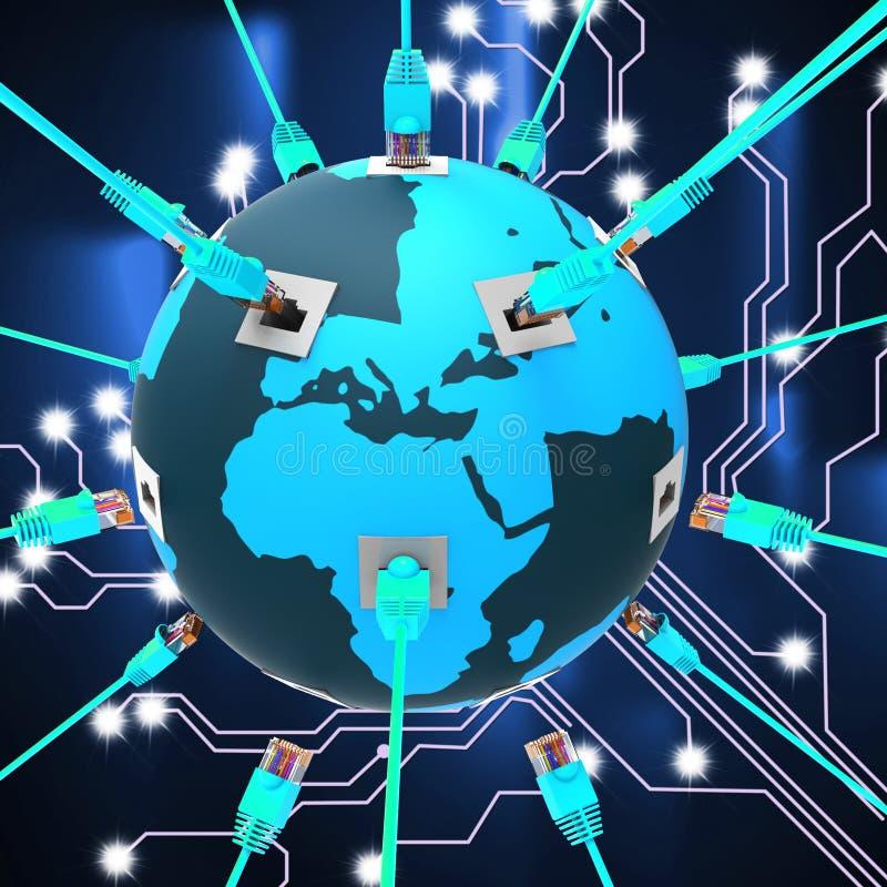Det världsomspännande nätverket föreställer globala kommunikationer och anslutning vektor illustrationer