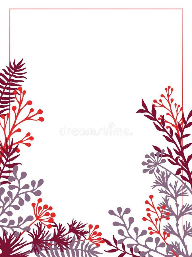 Det växt- riset och filialer gränsar vektorinbjudankortet stock illustrationer