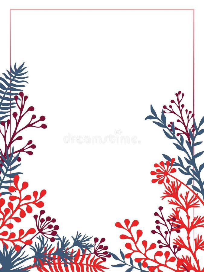 Det växt- riset och filialer gränsar vektorinbjudankortet vektor illustrationer