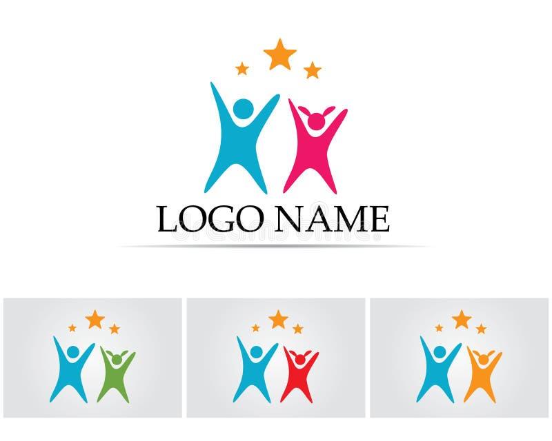 Det vård- framgångfolket att bry sig logo- och symbolmallen royaltyfri illustrationer