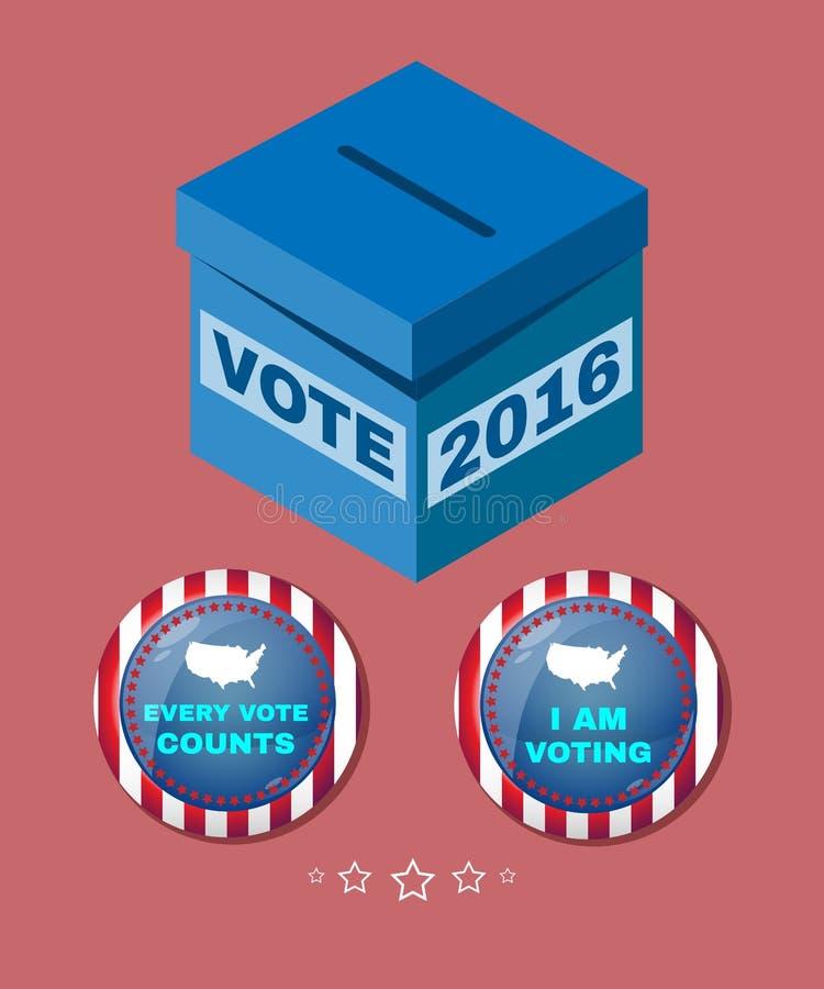Det varje USA-valet 2016 röstar räkningar vektor illustrationer