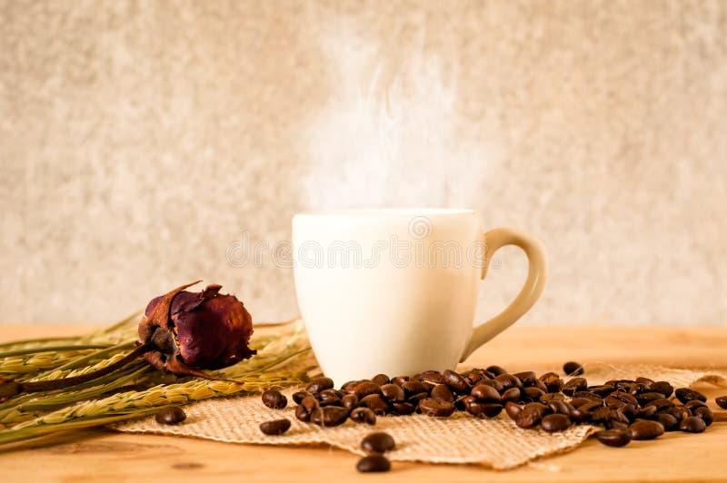 det varma kaffet i den vita koppen på trätabellen med kaffe kärnar ur royaltyfri fotografi